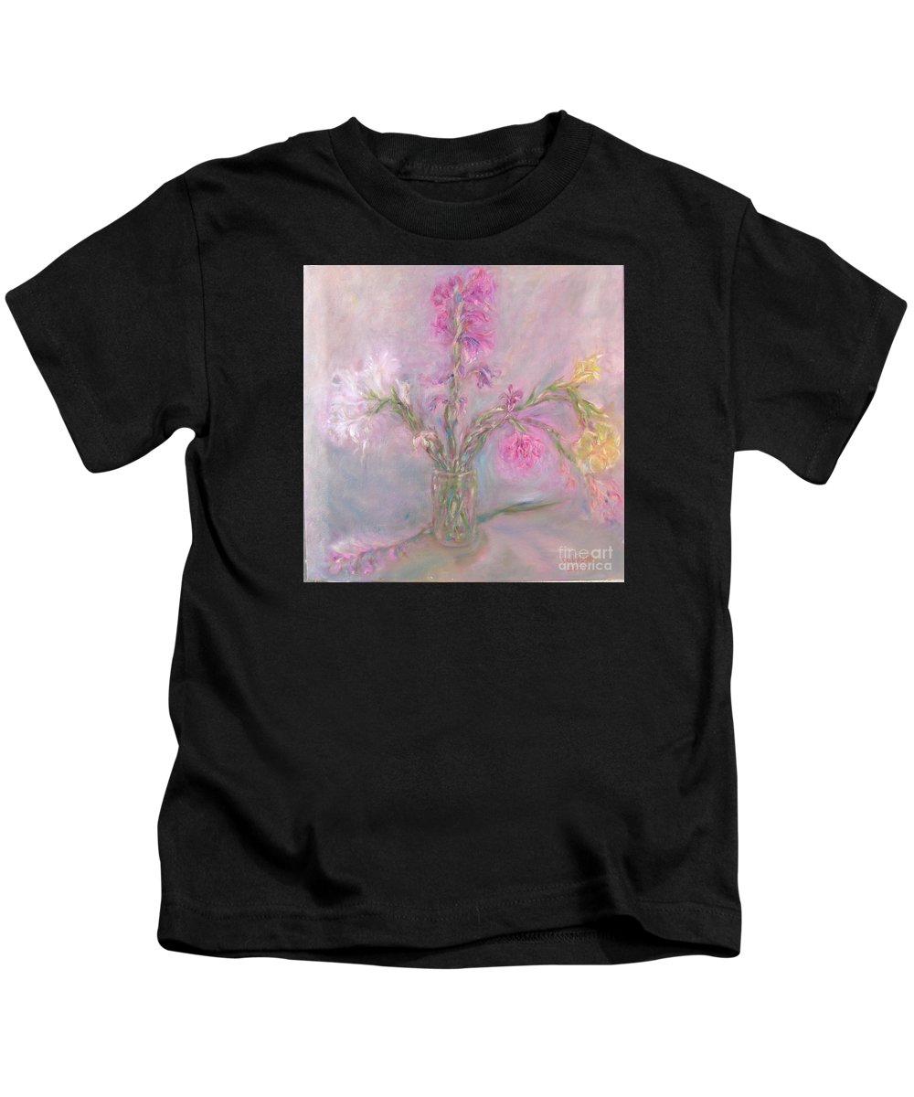 Pink Kids T-Shirt featuring the painting Recollection of The Dreamy Bloom by Sukalya Chearanantana