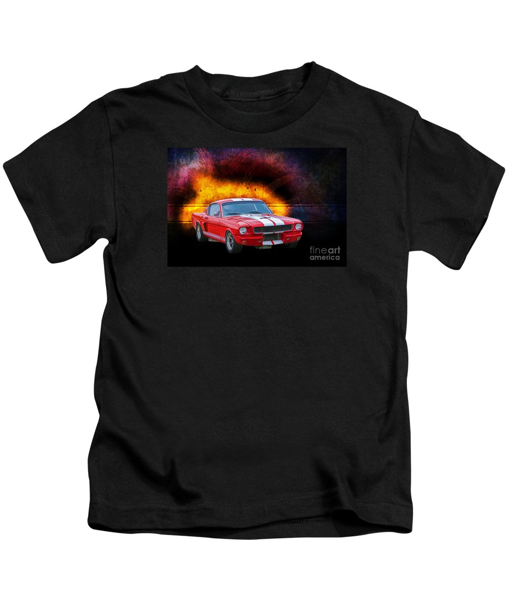 Muscle Car Kids T-Shirt featuring the photograph Red 1966 Mustang Fastback by Stuart Row
