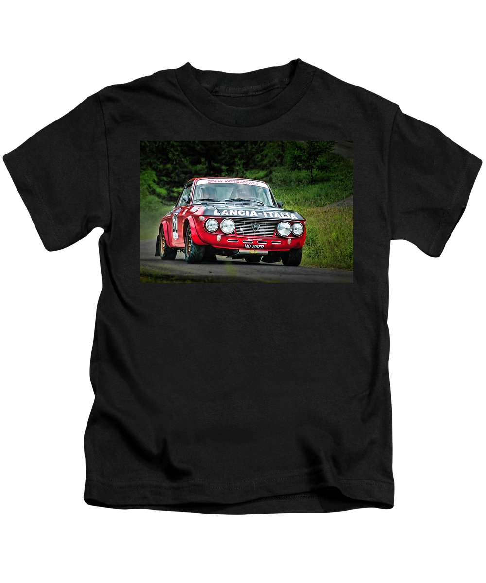 Car Kids T-Shirt featuring the photograph Red And Black Lancia Fulvia by Alain De Maximy