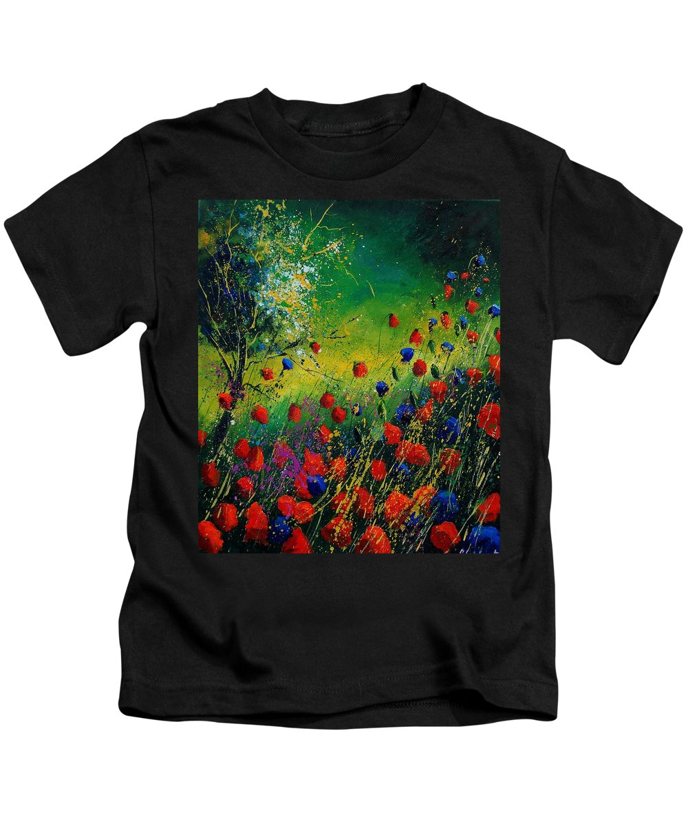 Flowers Kids T-Shirt featuring the painting Red And Blue Poppies 67 1524 by Pol Ledent