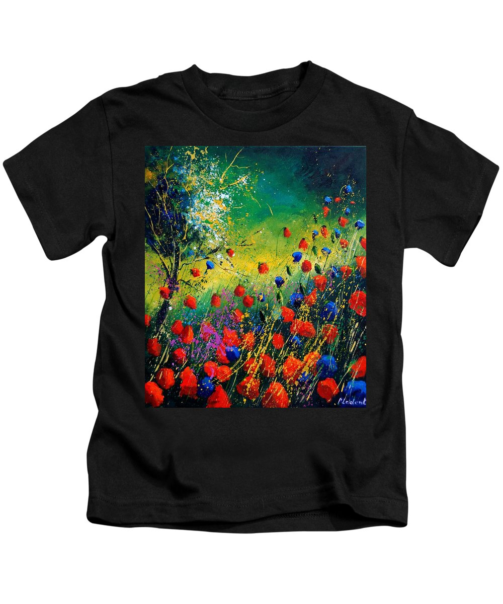 Flowers Kids T-Shirt featuring the painting Red And Blue Poppies by Pol Ledent