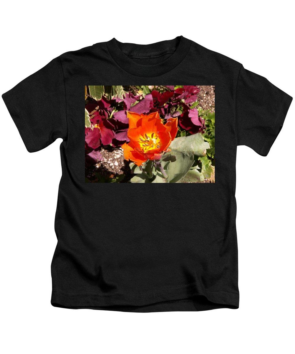 Flower Kids T-Shirt featuring the digital art Red And Yellow Flower by Tim Allen