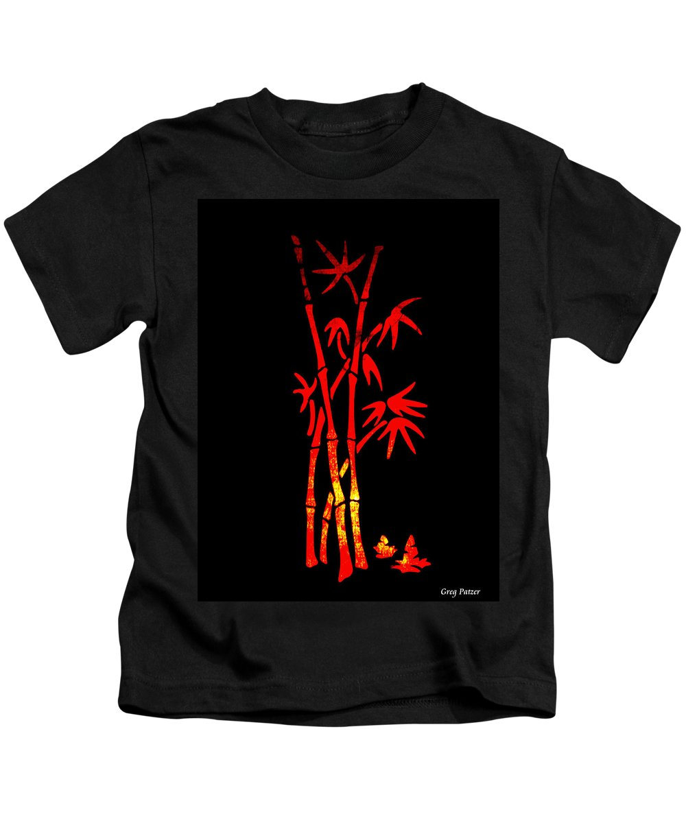 Patzer Kids T-Shirt featuring the photograph Red Bamboo by Greg Patzer
