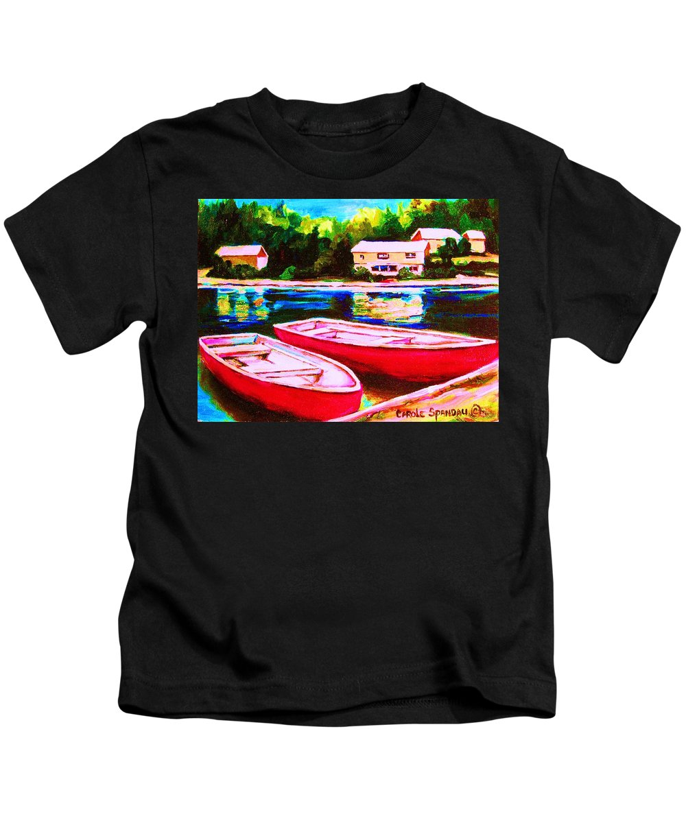 Red Boats Kids T-Shirt featuring the painting Red Boats At The Lake by Carole Spandau