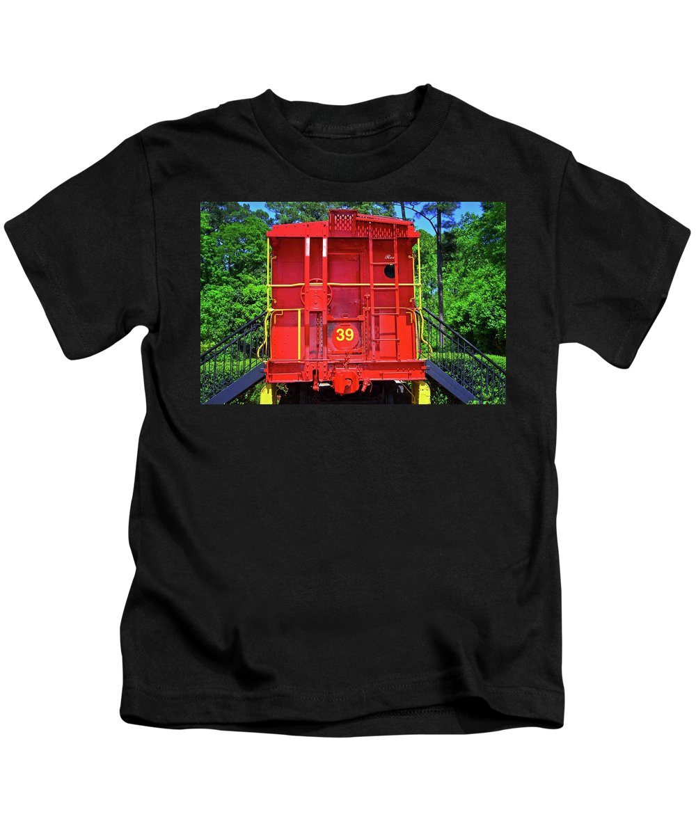 Train Kids T-Shirt featuring the photograph Red Caboose by Gary Adkins