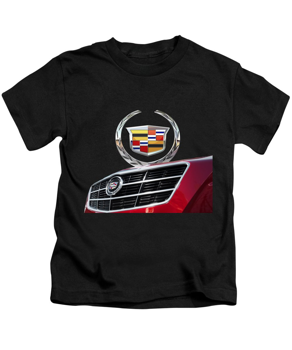 'auto Badges' By Serge Averbukh Kids T-Shirt featuring the photograph Red Cadillac C T S - Front Grill Ornament and 3D Badge on Black by Serge Averbukh