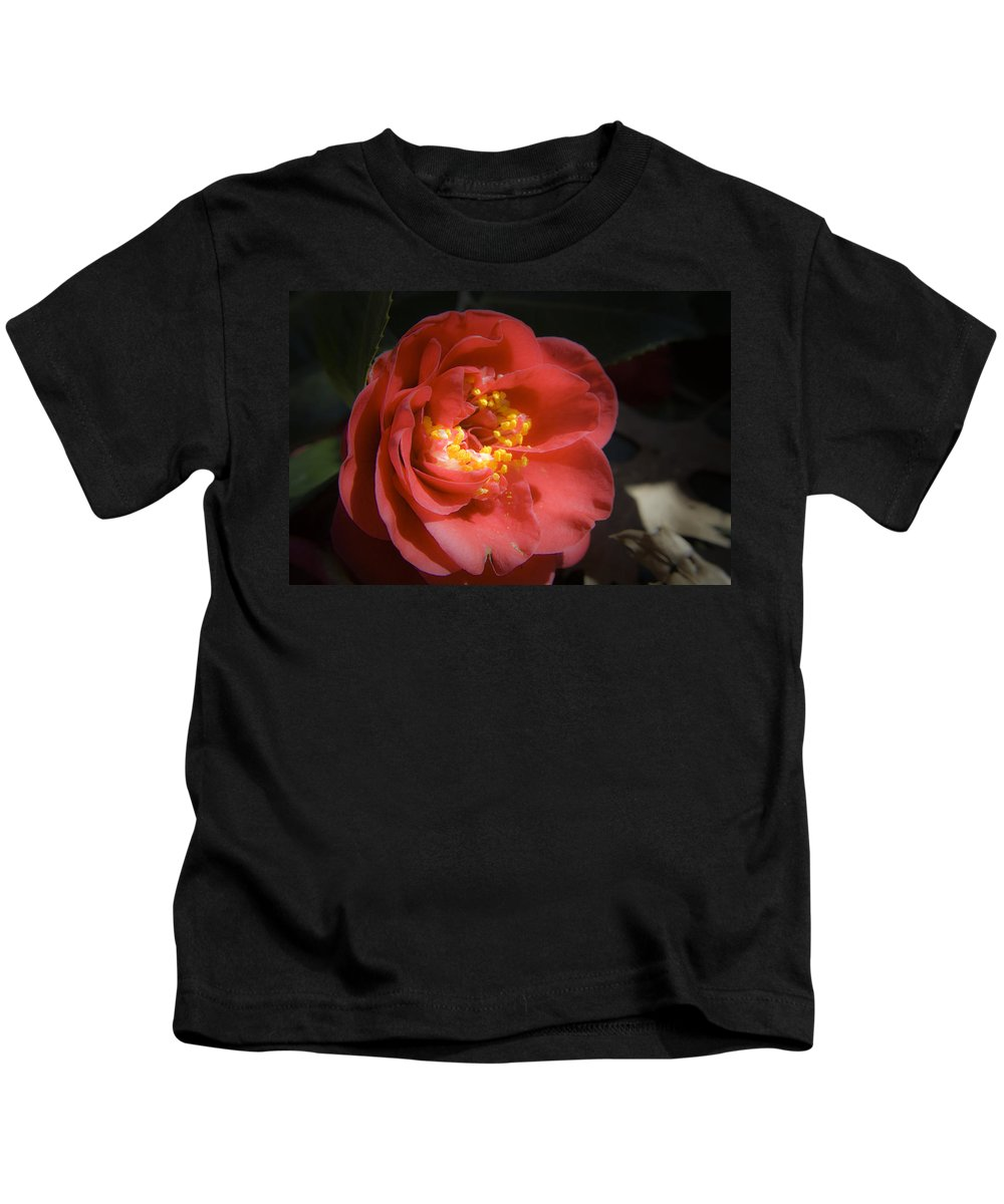 Camellia Kids T-Shirt featuring the photograph Red Camellia Bloom by Teresa Mucha