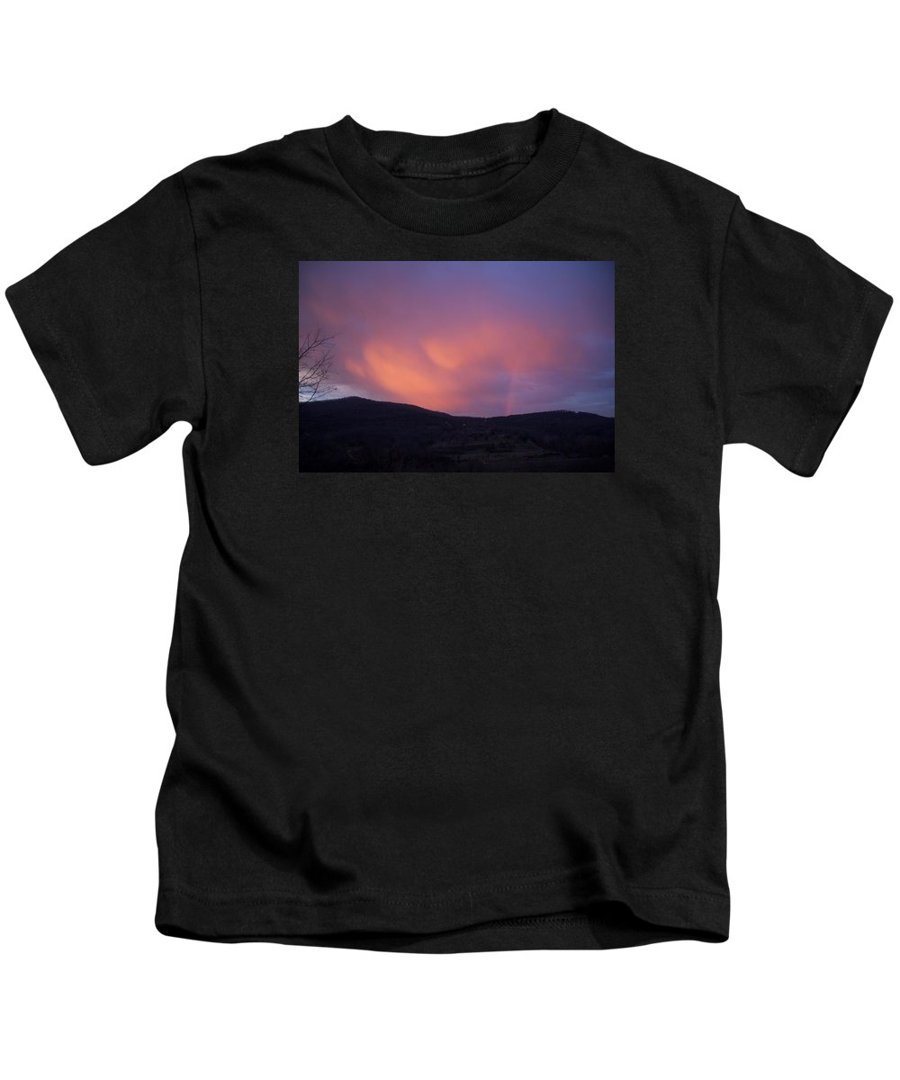 Sunset Kids T-Shirt featuring the photograph Red Clouds by Toni Berry