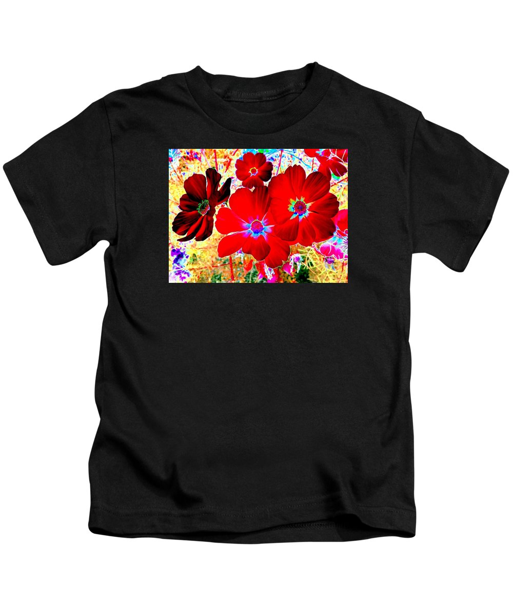 Red Cosmos Kids T-Shirt featuring the digital art Red Cosmos by Will Borden