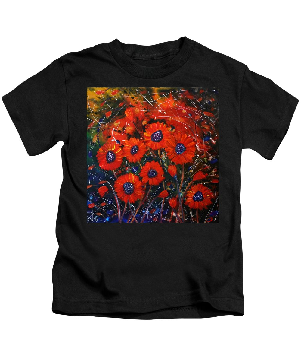 Flowers Kids T-Shirt featuring the painting Red Flowers In The Night by Luiza Vizoli