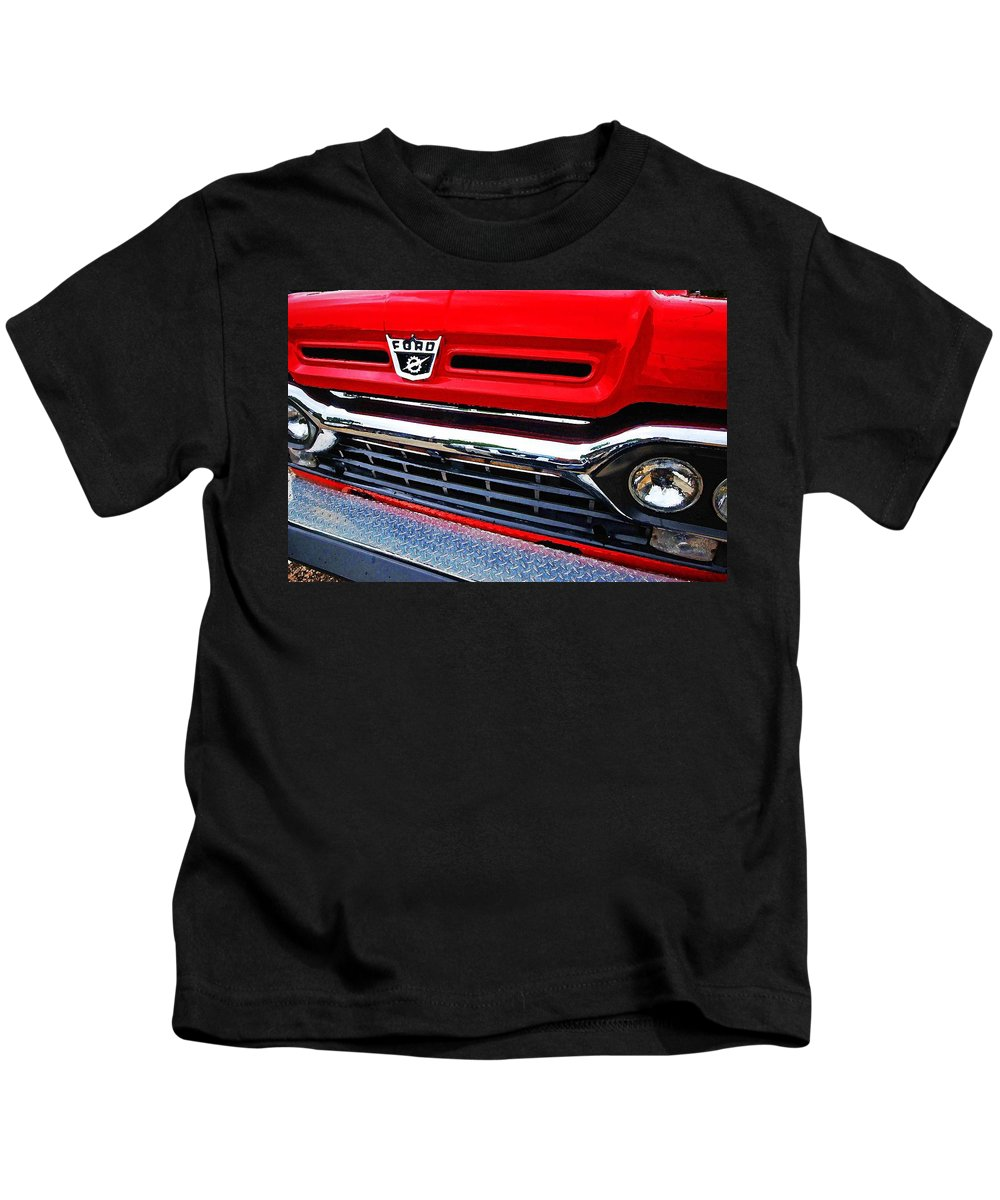 Truck Kids T-Shirt featuring the painting Red Ford Pickup by Michael Thomas