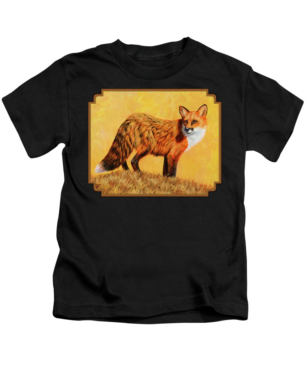 Foxes Kids T-Shirt featuring the painting Red Fox Painting - Looking Back by Crista Forest