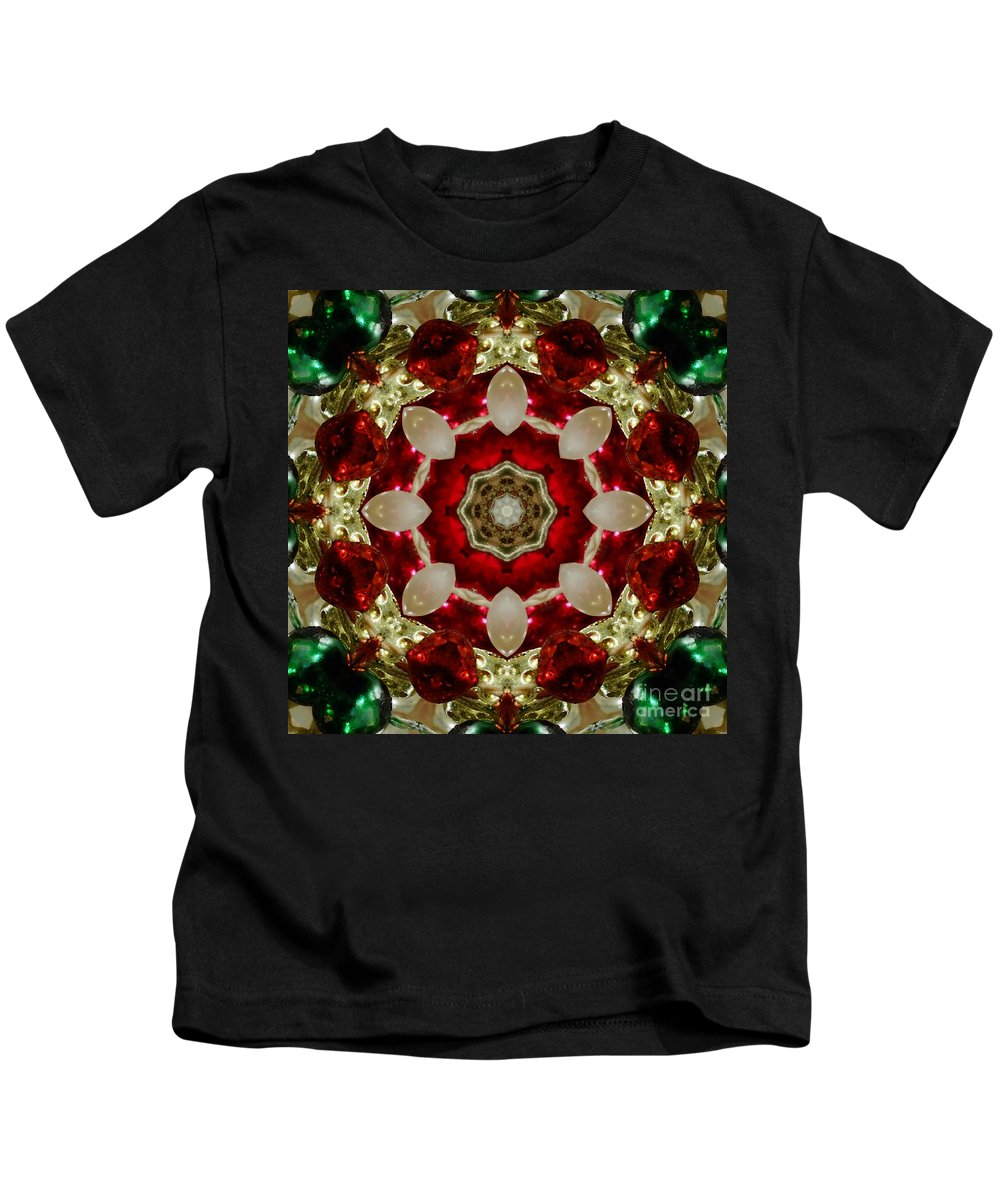 Red Kids T-Shirt featuring the digital art Red Gold Green Kaleidoscope 2 by Chandra Nyleen