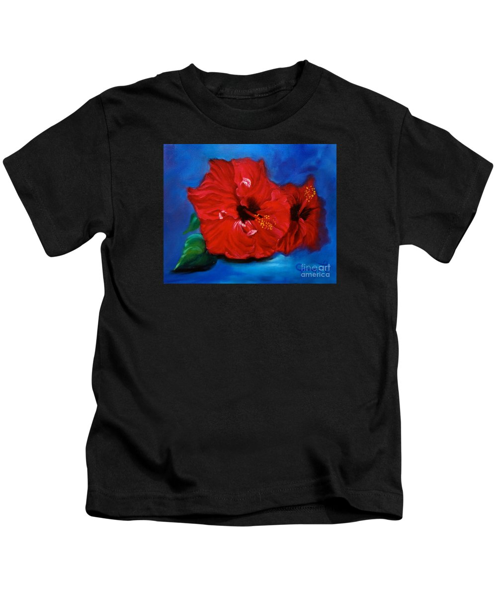 Hawaii State Flower Kids T-Shirt featuring the painting Red Hibiscus by Jenny Lee