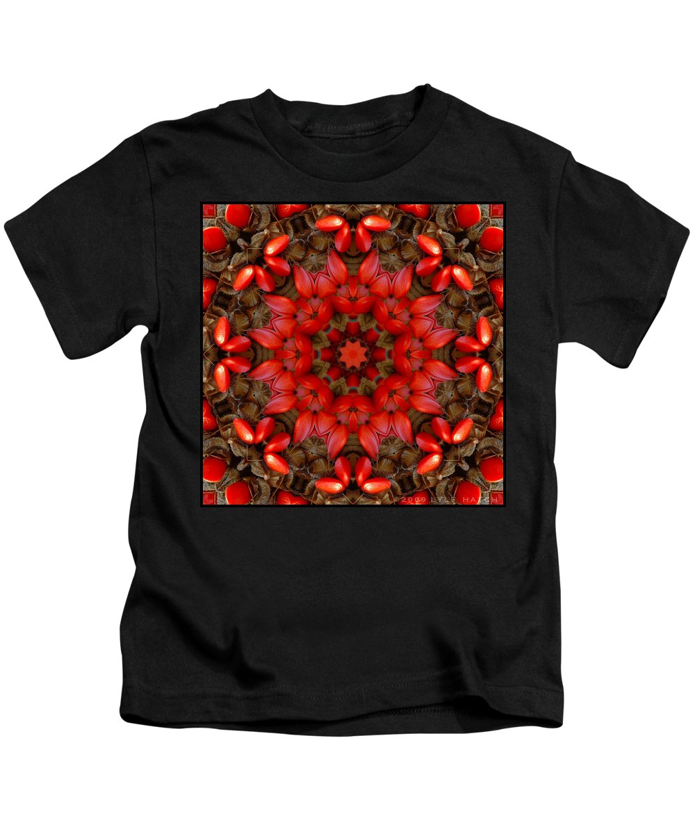 Kaleidoscope Kids T-Shirt featuring the digital art Red Kaleidoscope No. 1 by Lyle Hatch