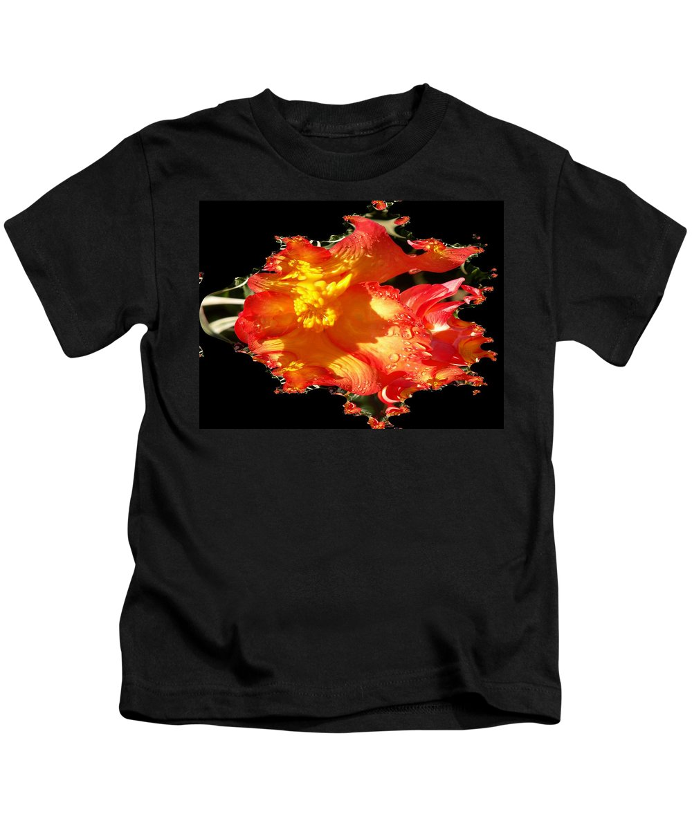 Flowers Kids T-Shirt featuring the digital art Red N Yellow Flowers by Tim Allen