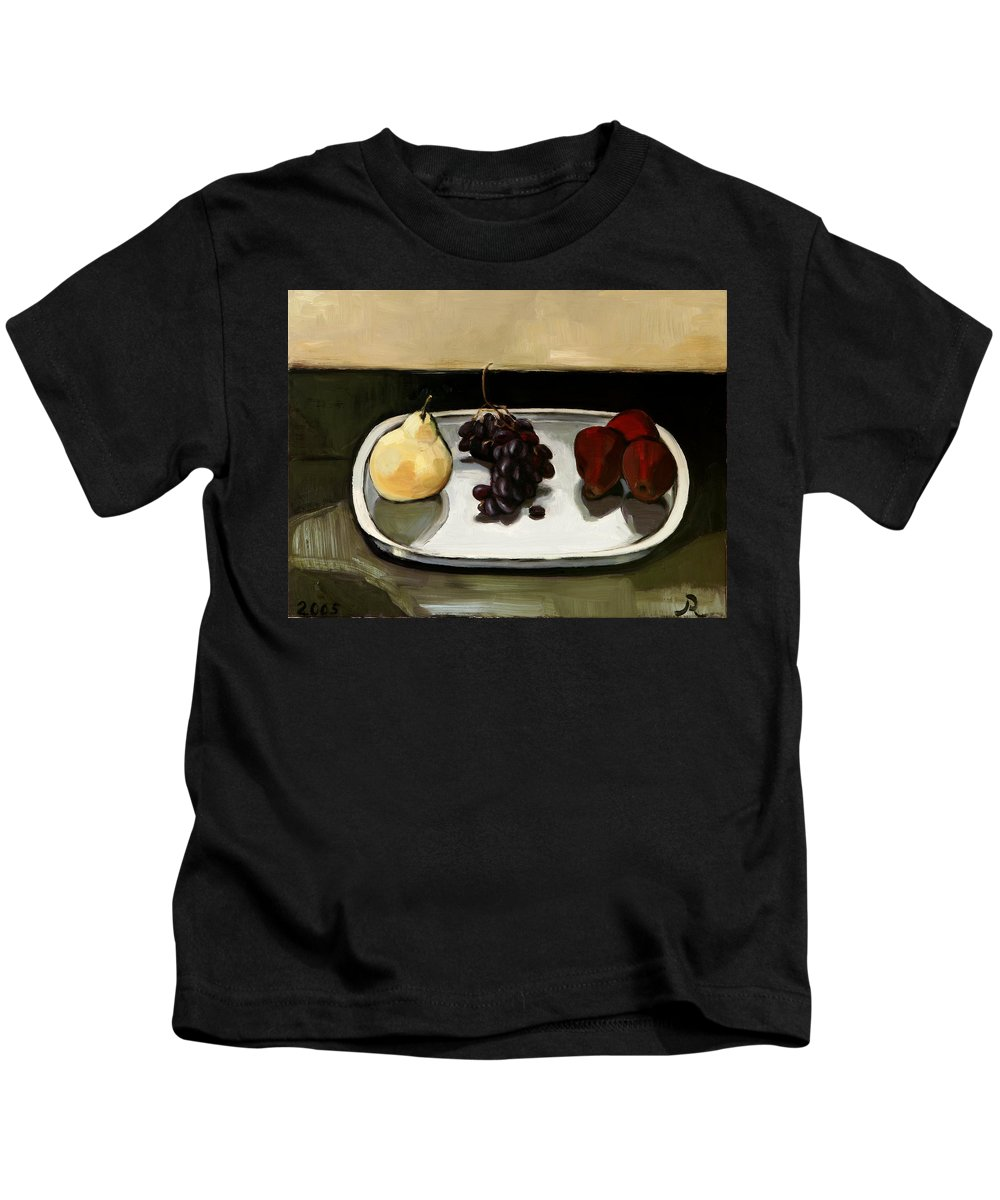 Still-life Grapes Pears Kids T-Shirt featuring the painting Red Pears by Raimonda Jatkeviciute-Kasparaviciene