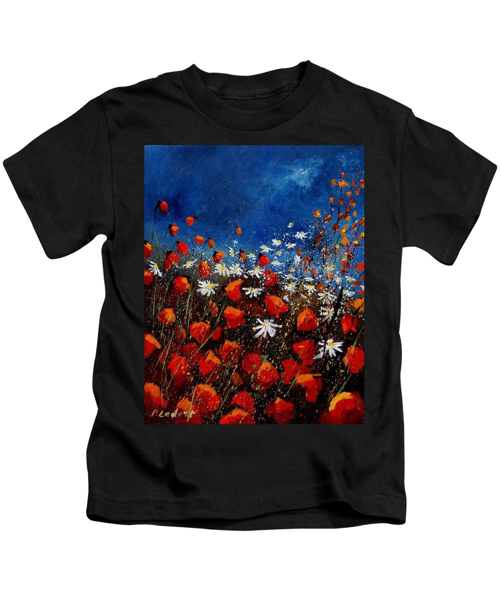 Flowers Kids T-Shirt featuring the painting Red Poppies 451108 by Pol Ledent