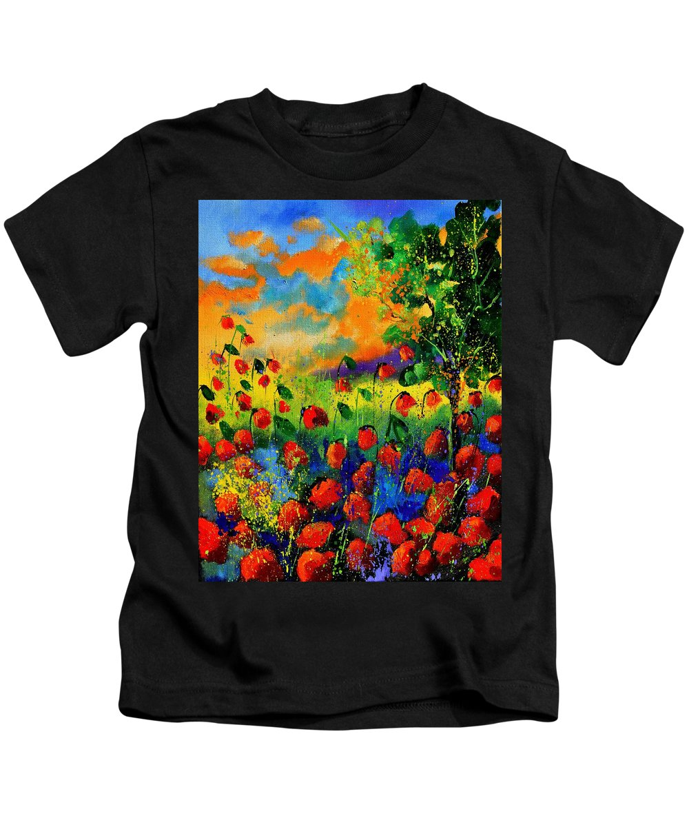 Flowers Kids T-Shirt featuring the painting Red Poppies 45150 by Pol Ledent
