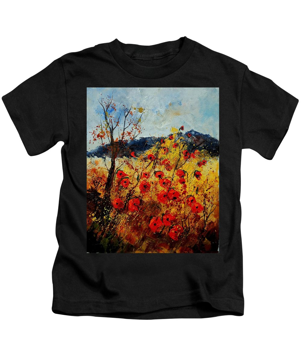 Poppies Kids T-Shirt featuring the painting Red Poppies In Provence by Pol Ledent