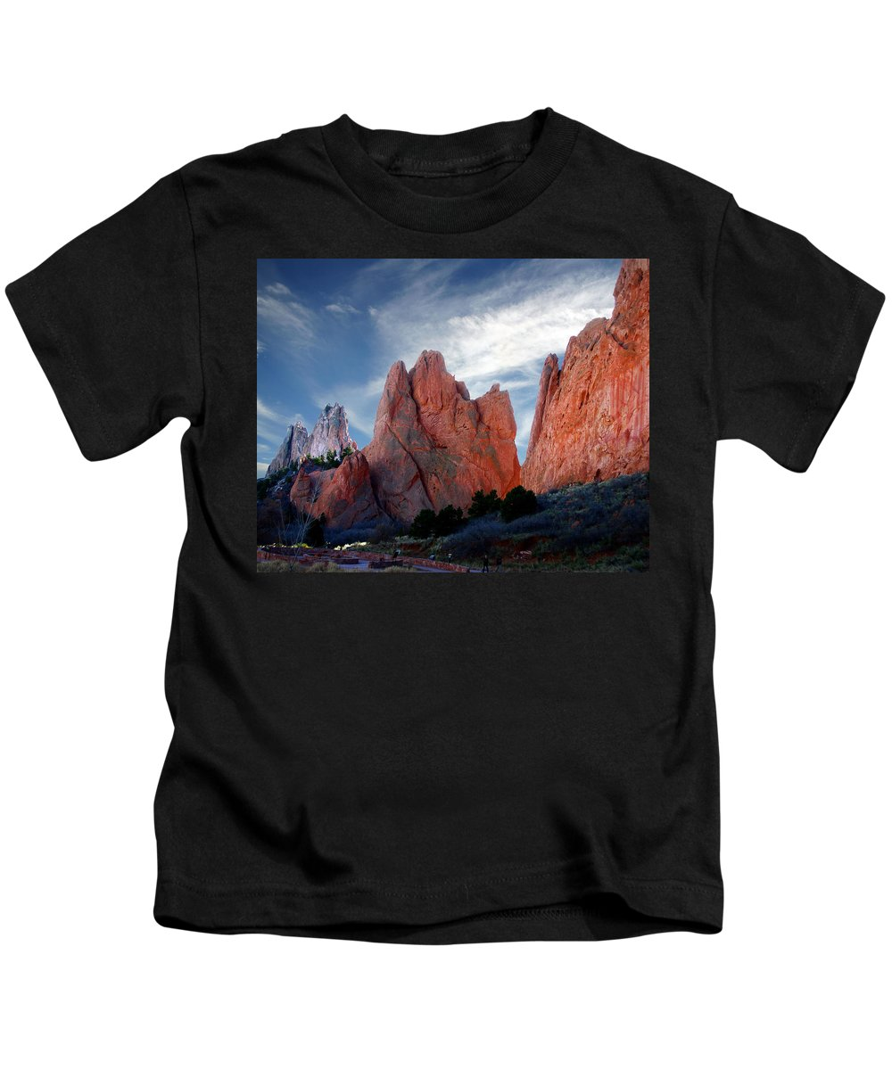 Garden Of The Gods Kids T-Shirt featuring the photograph Red Rock by Anthony Jones
