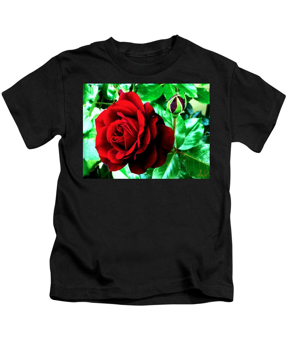Kids T-Shirt featuring the photograph red Rose by Helmut Rottler