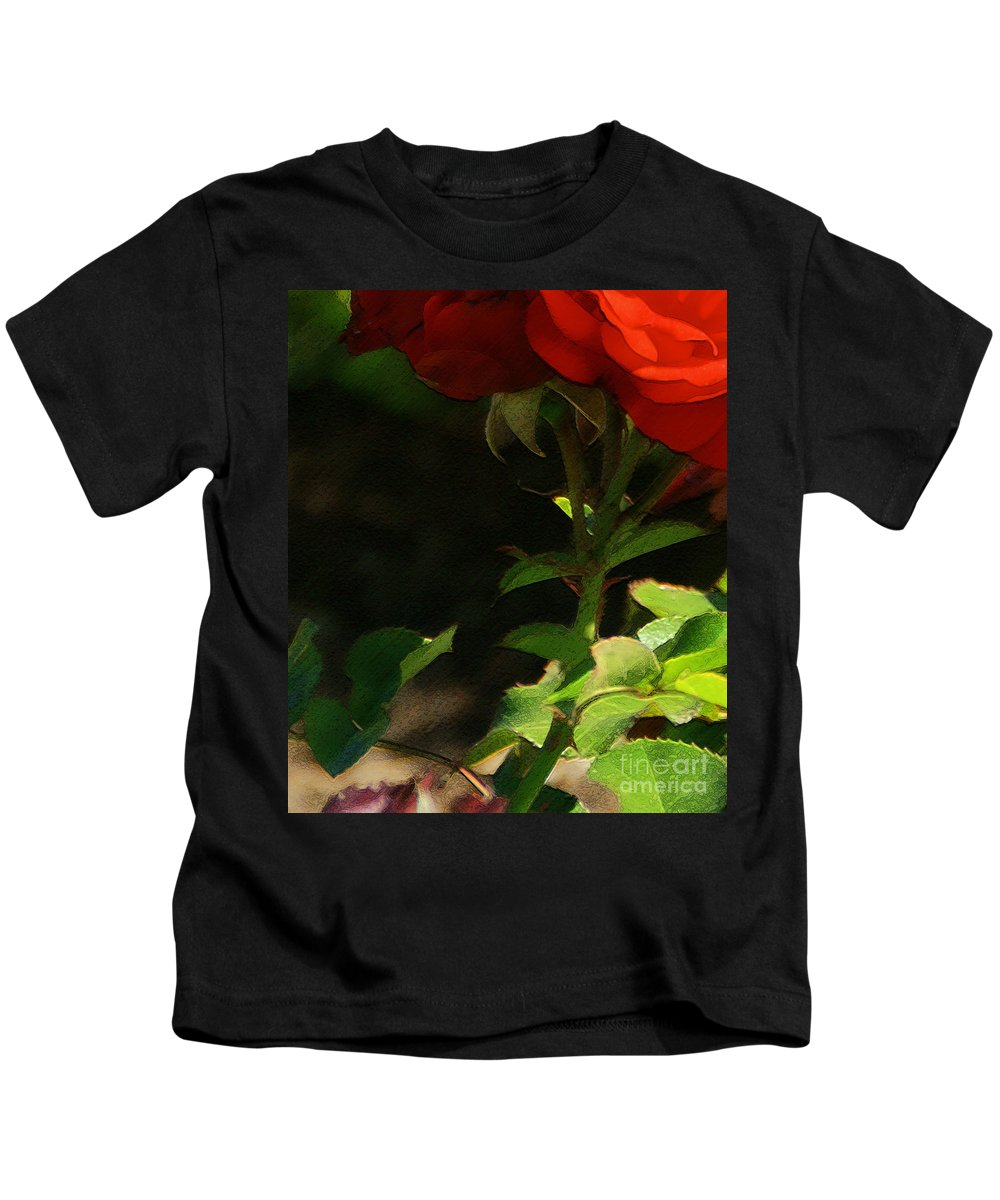 Rose Kids T-Shirt featuring the photograph Red Rose by Linda Shafer