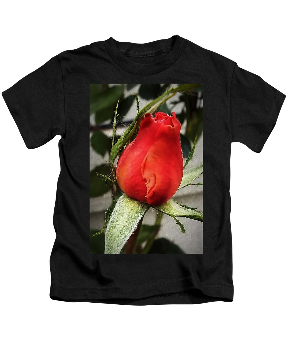 Rosebud Kids T-Shirt featuring the photograph Red Rosebud by Cathy Anderson