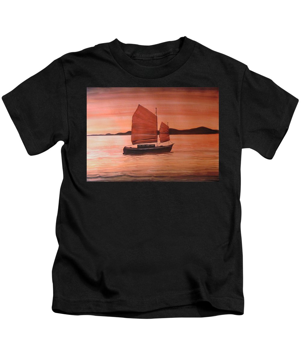 Watercolor Kids T-Shirt featuring the painting Red Sea With Chinese Boat by Stephane Richard