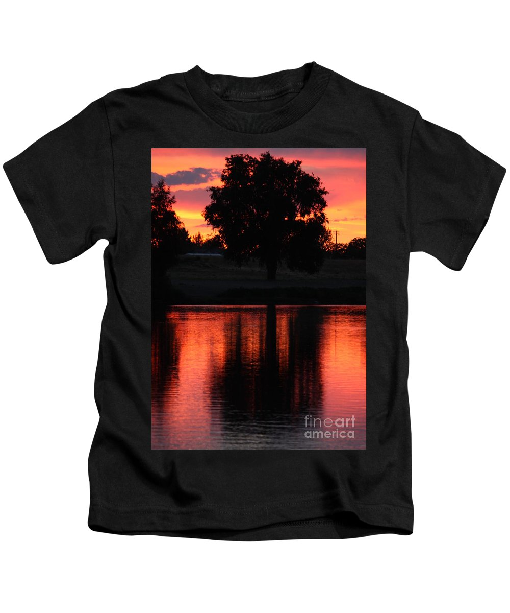 Sunset Kids T-Shirt featuring the photograph Red Sky Reflection With Tree by Carol Groenen