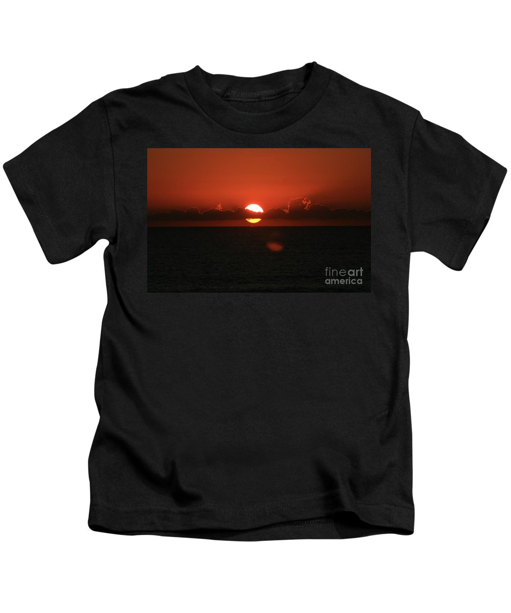 Sunset Kids T-Shirt featuring the photograph Red Sunset Over The Atlantic by Nadine Rippelmeyer