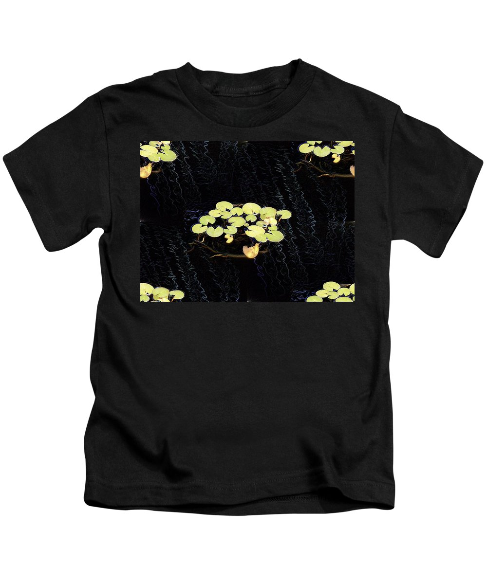 Lillies Kids T-Shirt featuring the digital art Reflecting Pool Lilies by Tim Allen