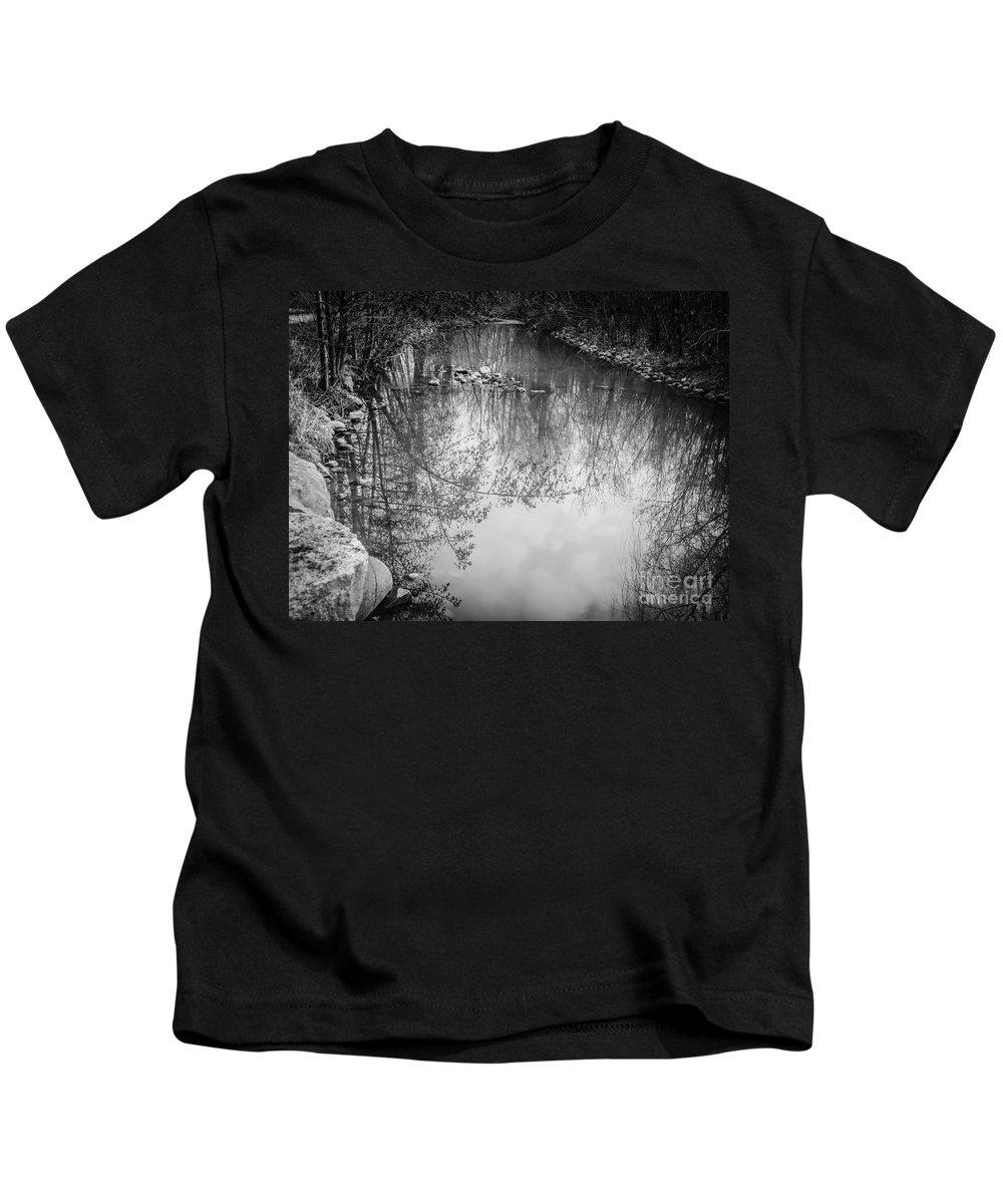 Black And White Kids T-Shirt featuring the photograph Reflection by Ashwini Nirale