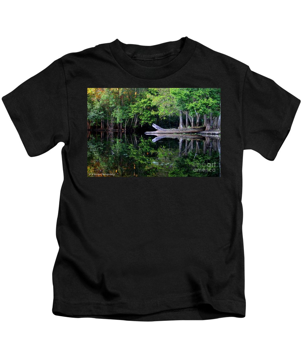 Reflection Kids T-Shirt featuring the photograph Reflection Off The Withlacoochee River by Barbara Bowen