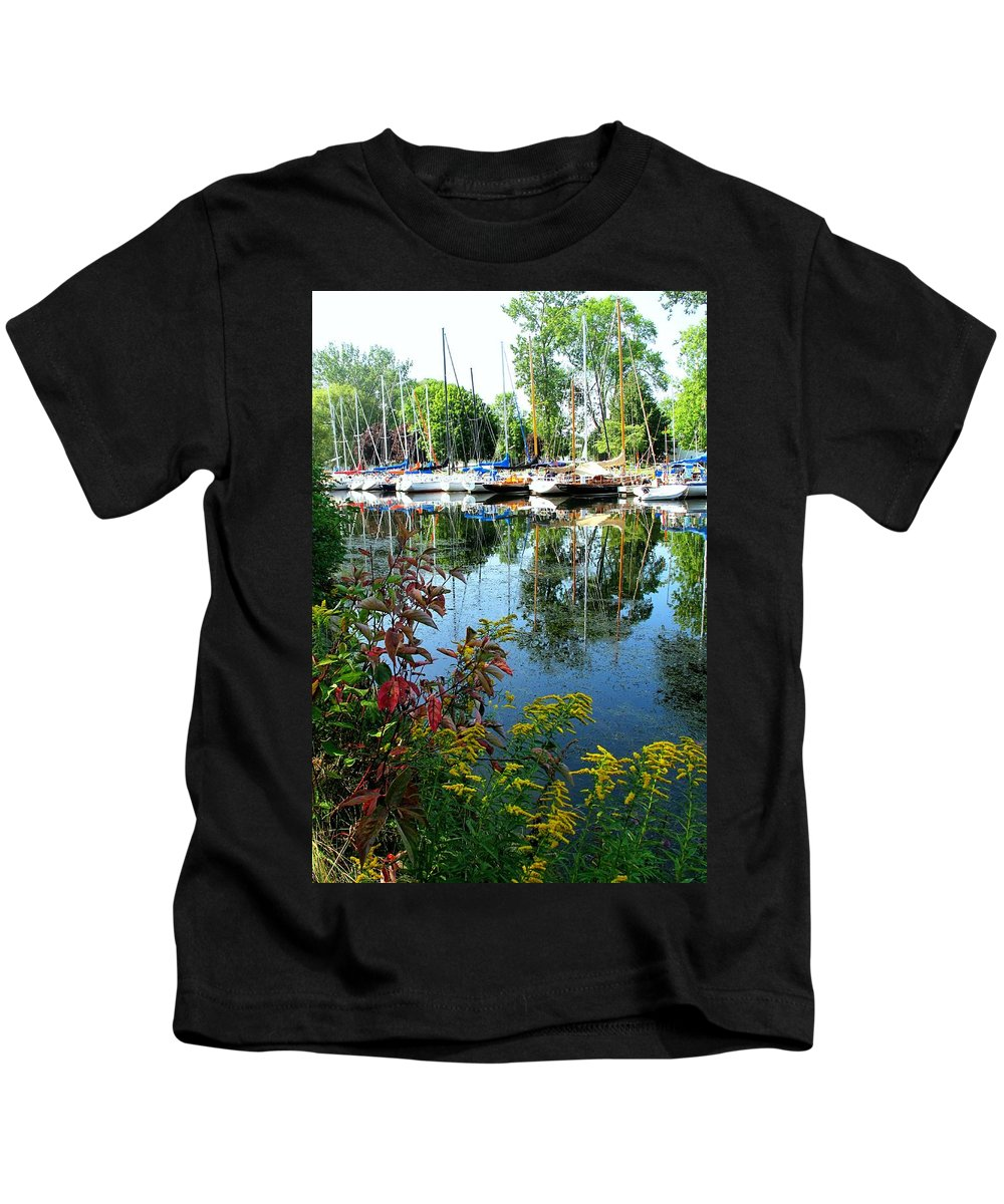 Flowers Kids T-Shirt featuring the photograph Reflections In The Pool by Ian MacDonald