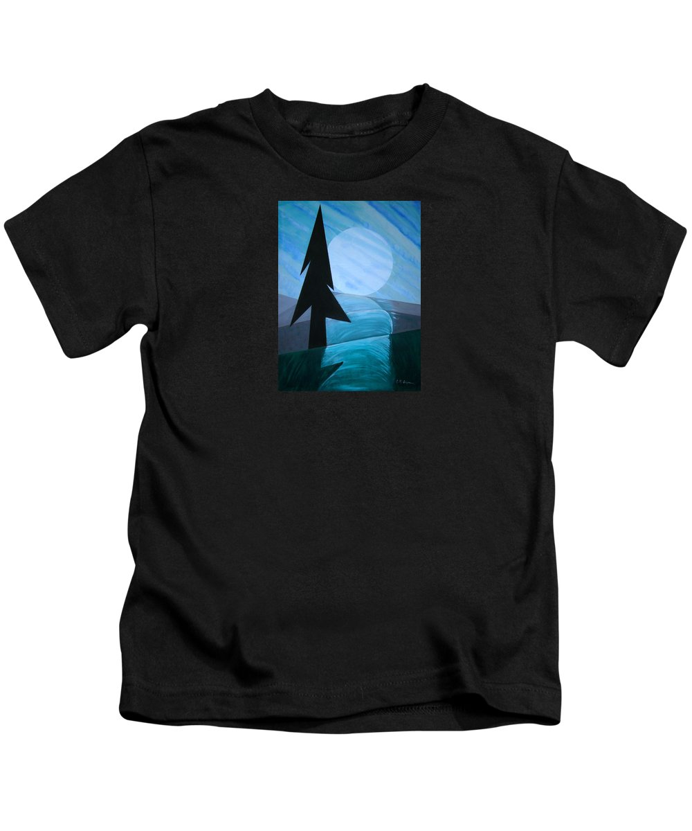 Phases Of The Moon Kids T-Shirt featuring the painting Reflections On The Day by J R Seymour