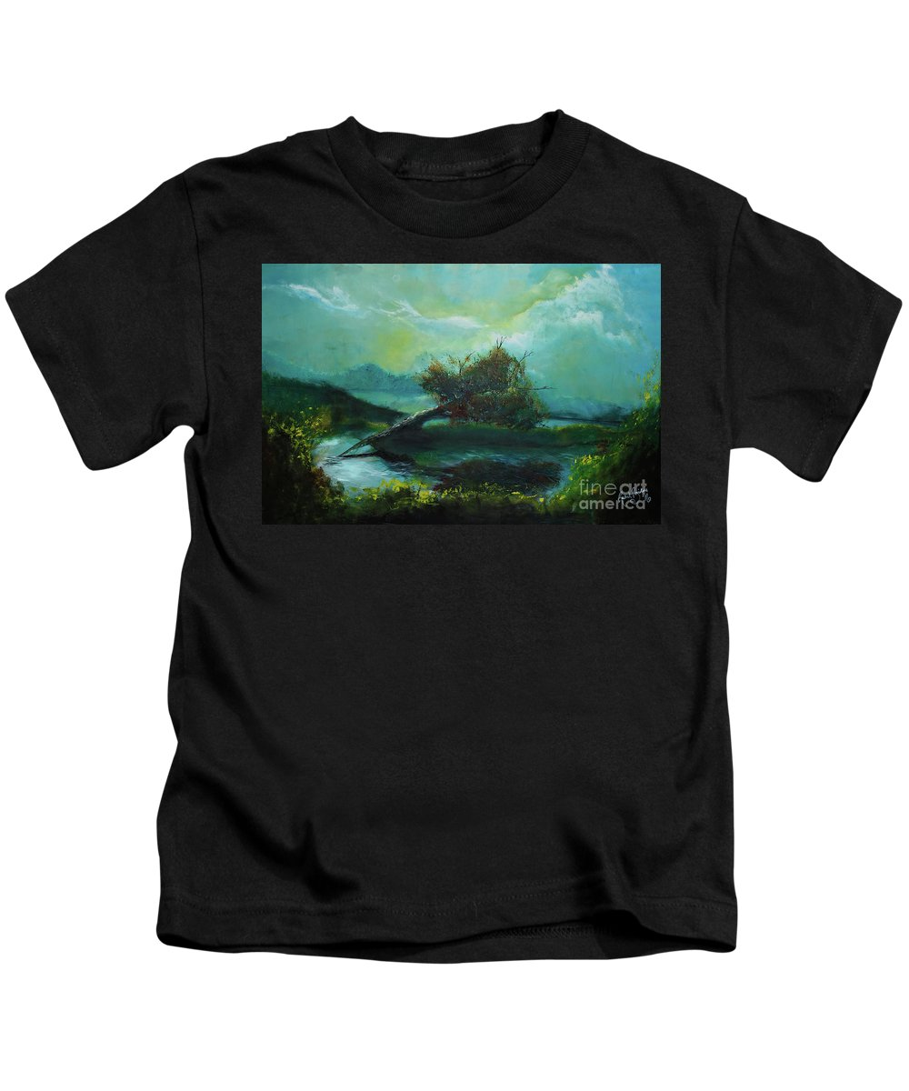 Tree Kids T-Shirt featuring the painting Reflections by Rachel Brisbois