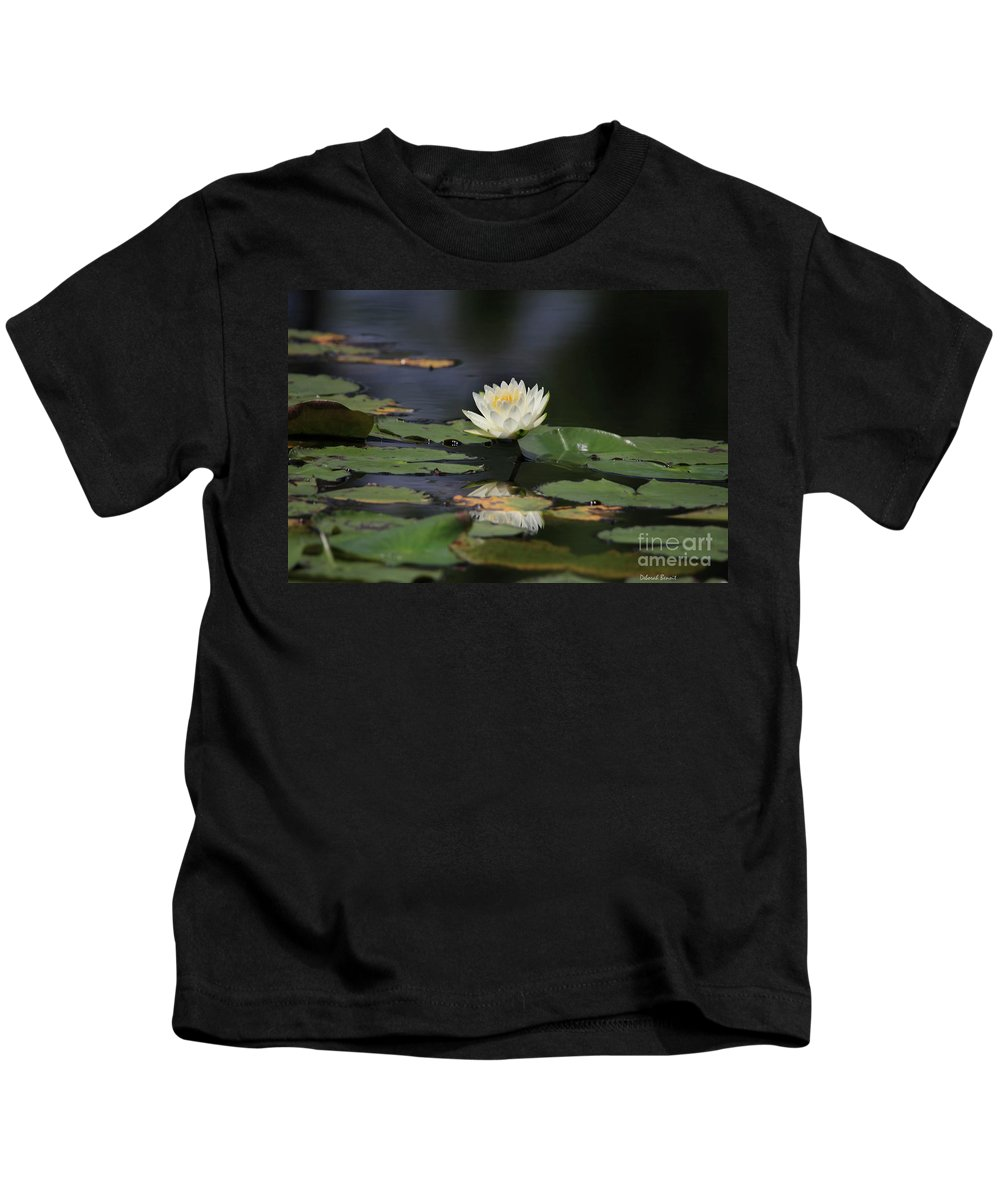 Lilly Kids T-Shirt featuring the photograph Reflective Lilly by Deborah Benoit