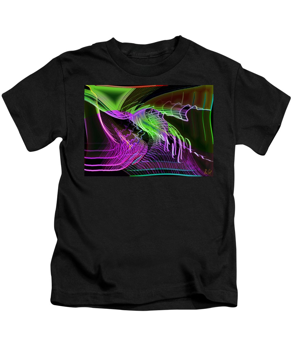 Drawing Kids T-Shirt featuring the digital art Reflexions Green by Helmut Rottler
