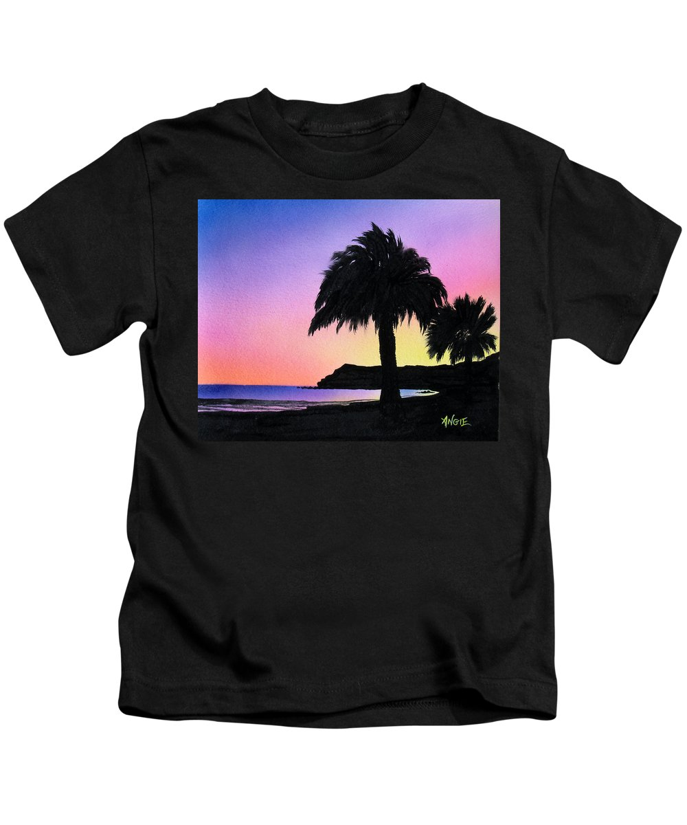 Beach Kids T-Shirt featuring the painting Refugio Point 1 by Angie Hamlin