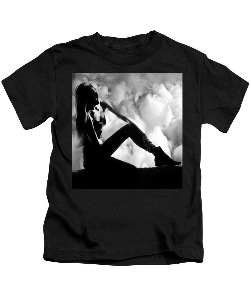 Feelings Kids T-Shirt featuring the photograph Regreting Mood V2 Bw by Alex Art and Photo