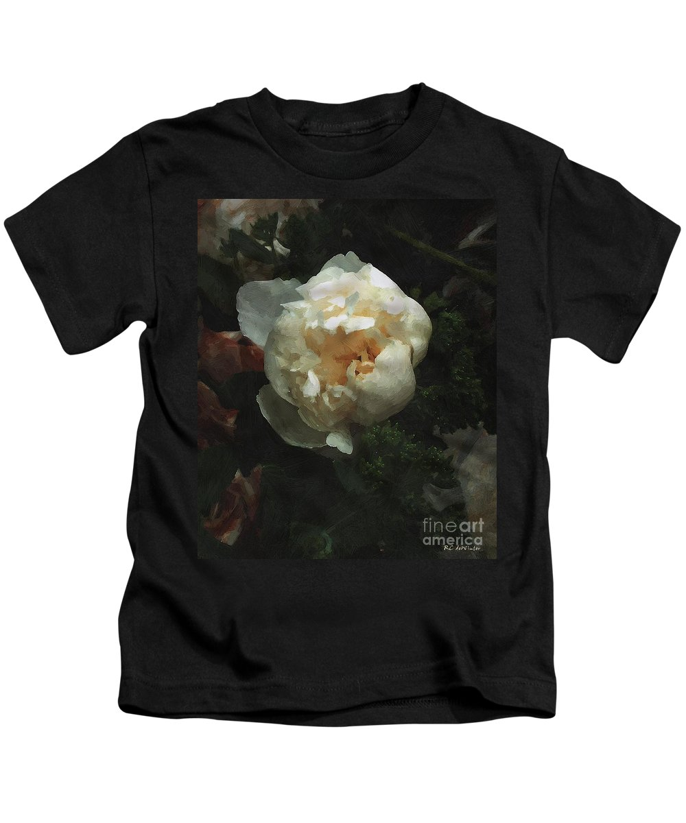 Flower Kids T-Shirt featuring the painting Remembrance in White by RC DeWinter