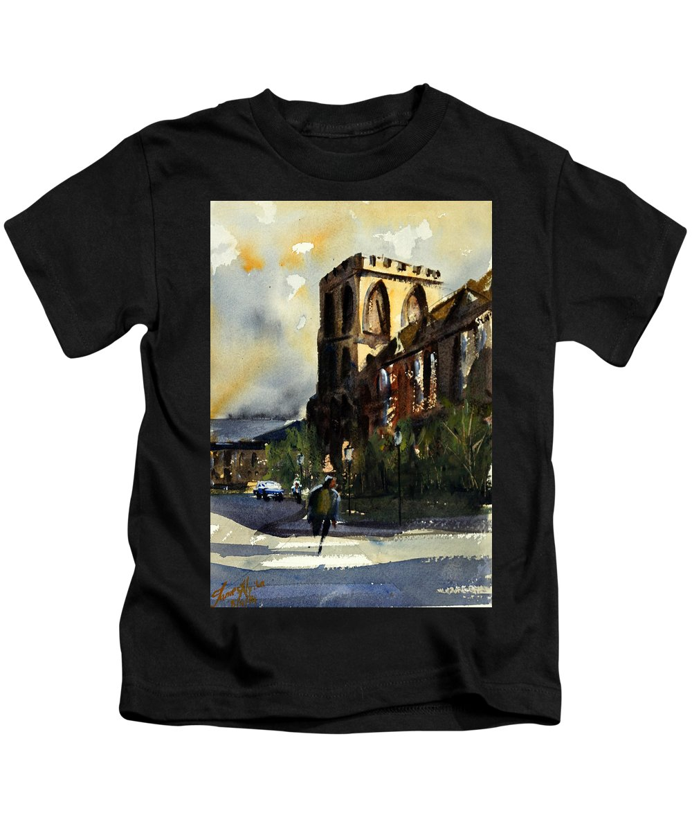 Catholic Kids T-Shirt featuring the painting Residences, Catholic University by James Nyika