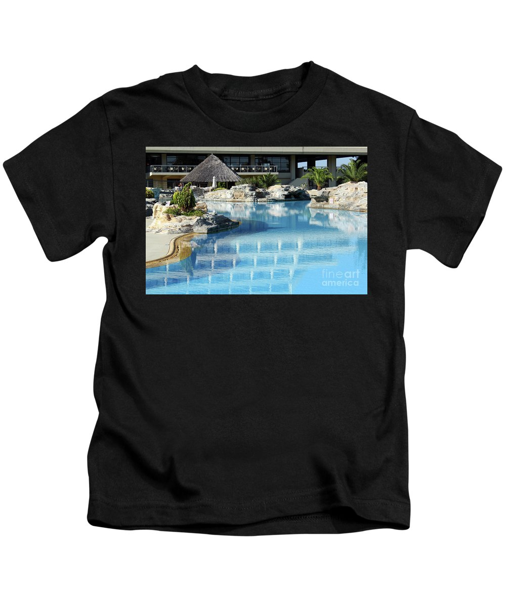 Open Kids T-Shirt featuring the photograph Resort With Swimming Pool by Goce Risteski