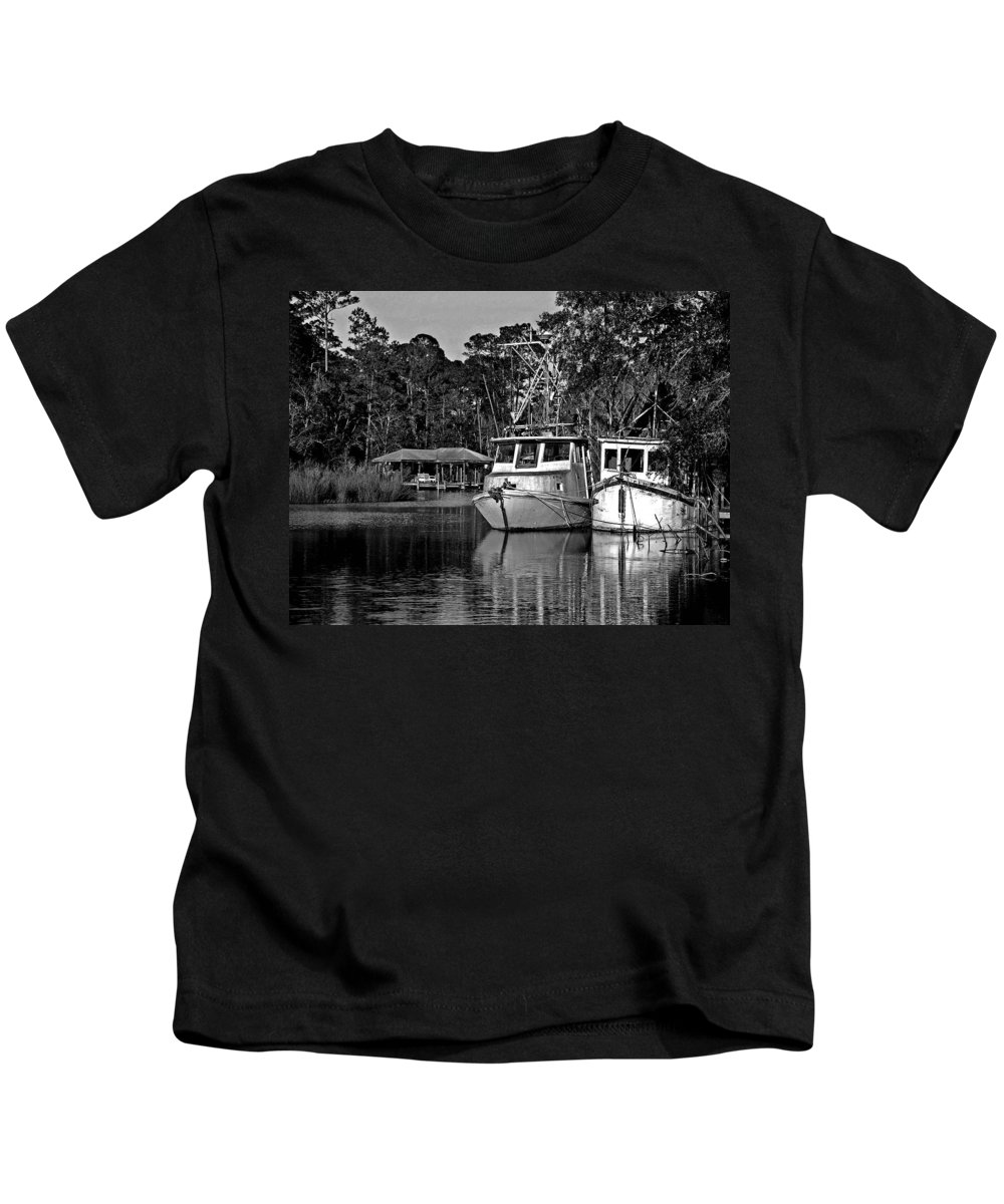 Shrimp Boat Kids T-Shirt featuring the painting Resting Shrimp Boats by Michael Thomas