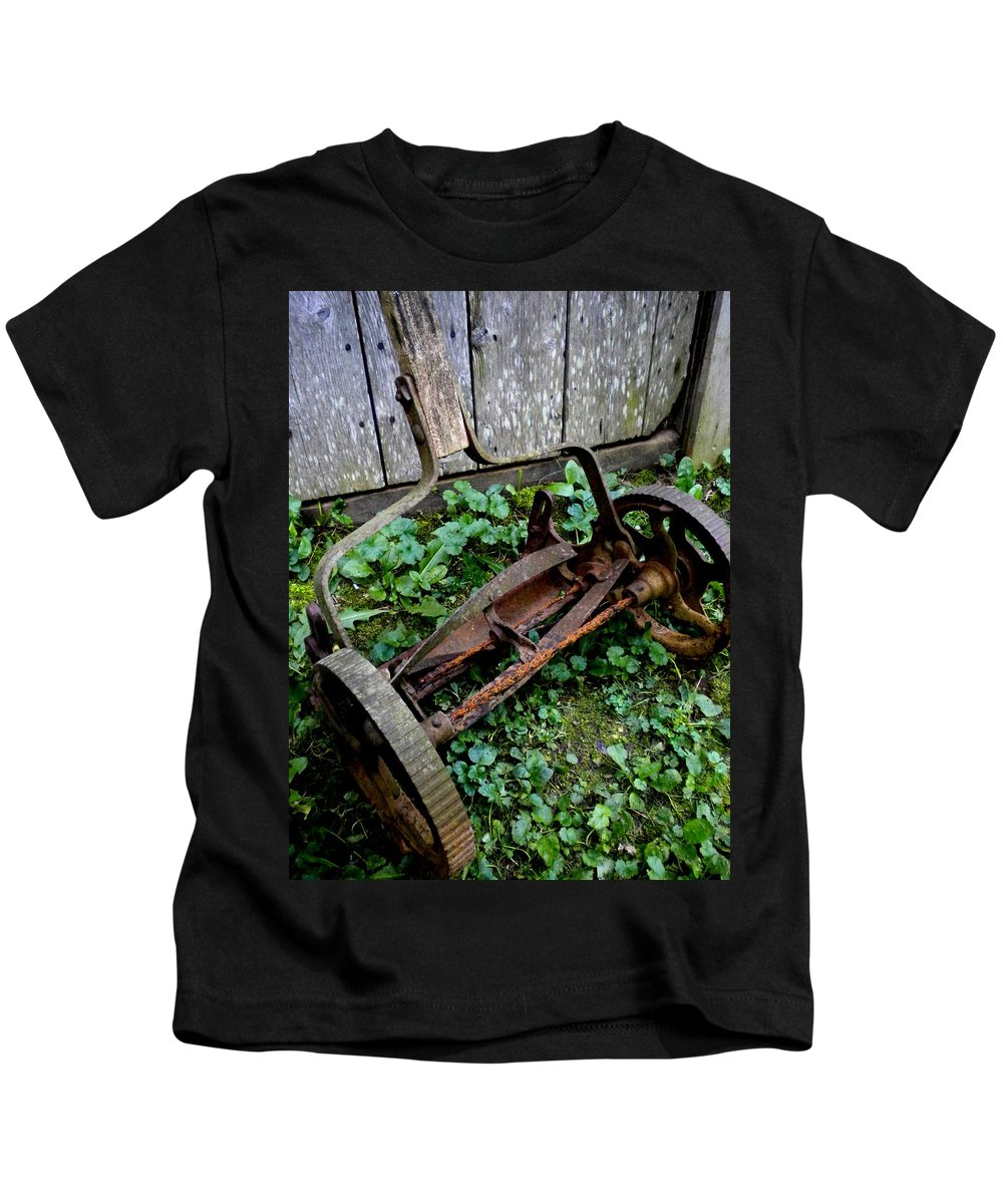 Lawnmower Kids T-Shirt featuring the photograph Retired by Renate Nadi Wesley