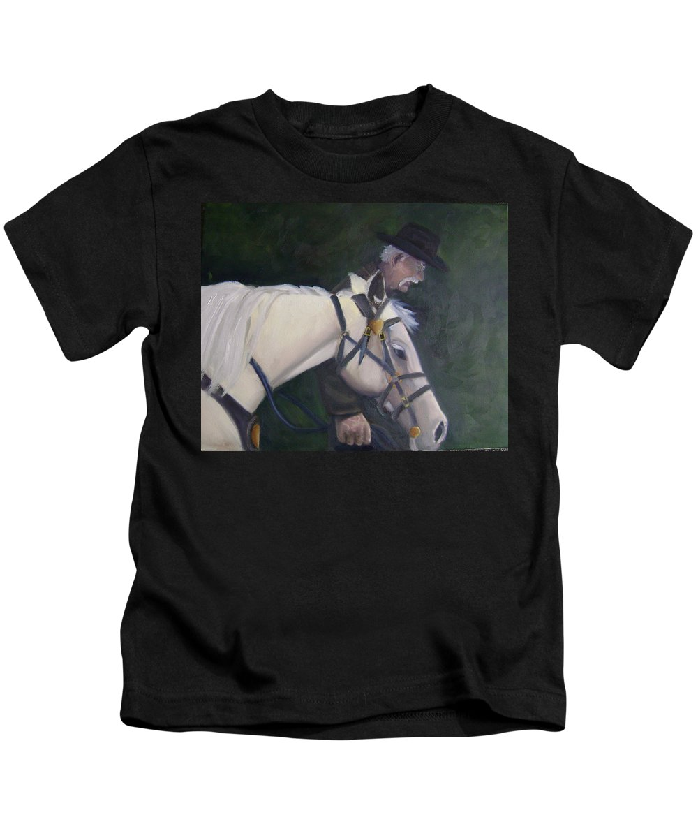 Old Man Horse... Kids T-Shirt featuring the painting revised- Man's Best Friend by Toni Berry