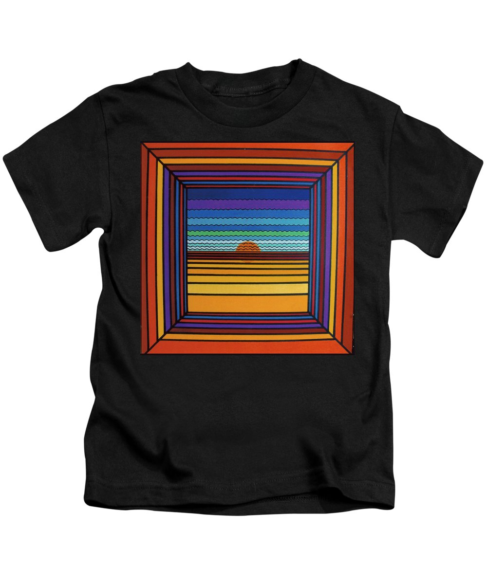 Framed Sunset Kids T-Shirt featuring the drawing Rfb0641 by Robert F Battles