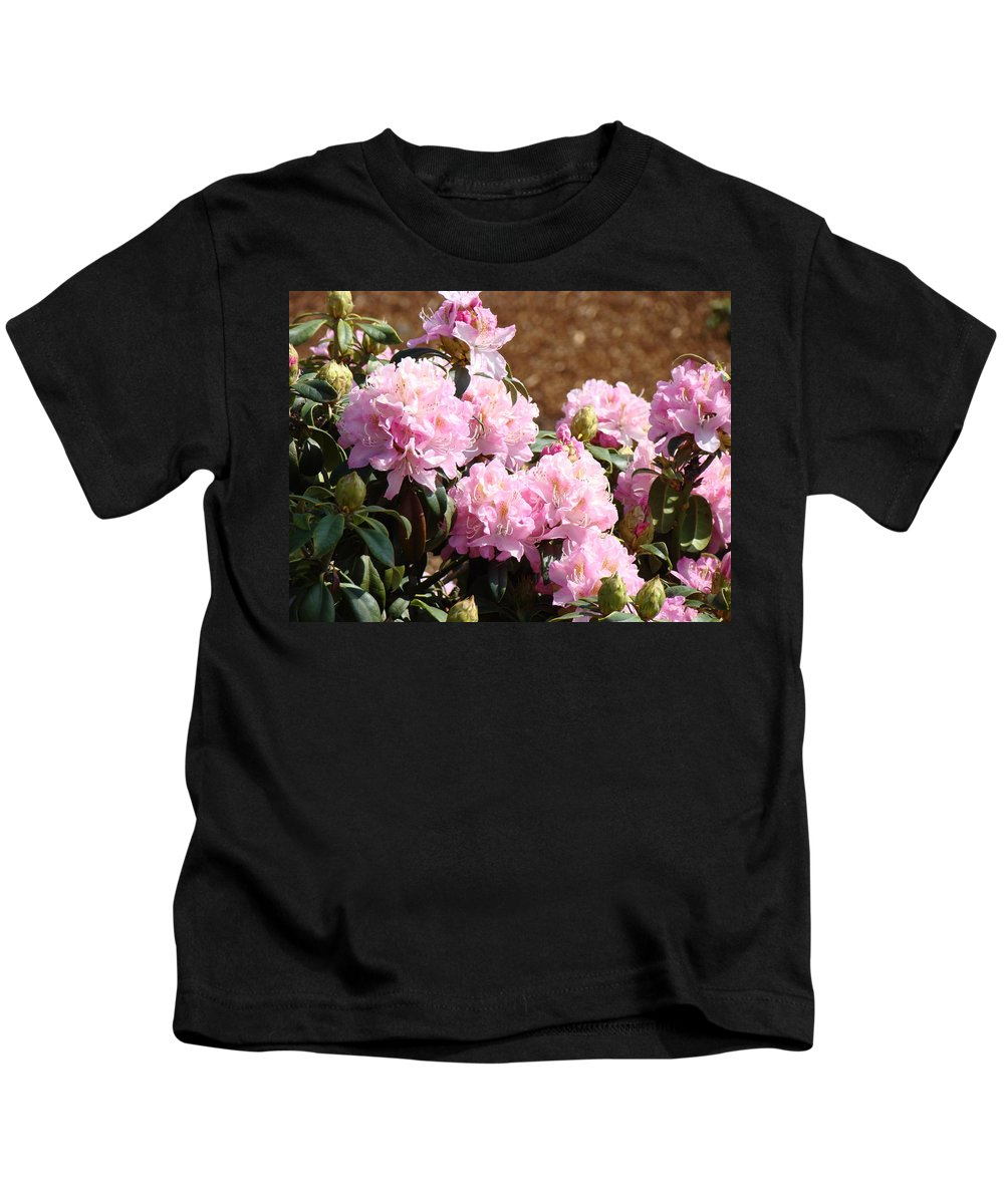 Rhodies Kids T-Shirt featuring the photograph Rhododendron Garden Art Print Pink Rhodies Flowers Baslee Troutman by Baslee Troutman