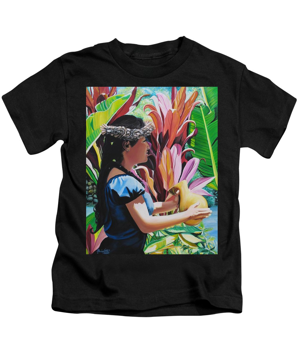 Rhythm Kids T-Shirt featuring the painting Rhythm Of The Hula by Marionette Taboniar